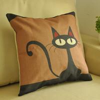 Cat cartoon black pillow fluid for za kka sofa cushion kaozhen