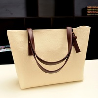 Vintage Letter Embroidery New Embossed Stripe Genuine PU Soft Leather Bags For Women Handbags Nessenger Bag Bolsas Casual Tote