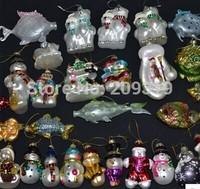 Christmas Glass santa snowman Ornaments 12 pieces