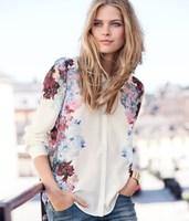 Flower Printed Casual Blusas Femininas 2015 Long Sleeve Shirts Tops Women Chiffon Blouse Turn Down Collar Casual Shirt
