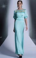 CJ0190 Hot Selling Half Sleeve See Through Beads Floor Length Vestidos Para Festa Formal Evening Gowns Long Prom Dresses 2015