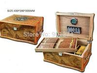 antique lubinski Cedar Wood glossy Finish  Cigar Humidor  Humidifier W/Lock Hygrometer, FREE SHIPPING
