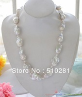 "HUGE 23""l 35mm white baroque  reborn PEARL NECKLACE"