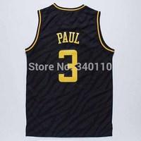 LAC Chris Paul #3 #32 Blake Griffin Basketball Jersey Fashion swing black gold cheap Authentic mens Jerseys Free Shipping
