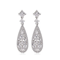 2015 New Elegant Cluster Drop Wedding Earrings Top Quality Clear sliver Plated Dangle Earing Jewelry