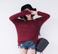 2014 pullover sweater female all-match sexy o-neck loose horse velvet top