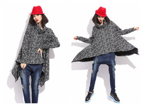 Irregular Design Women Thick Warm Winter Pullovers Snowflake Printing Loose Sweaters Pullovers Free Size FS3143