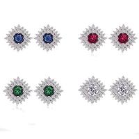 New Design Women Luxury Cubic Zirconia Vintage Green Cz Crystal Stud Earrings For women Party Accessories Jewelry