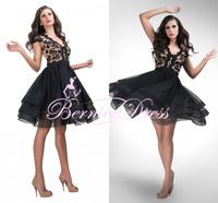 New Design V-neck A-line Short Prom Dresses Custom Made Cap Sleeve Black Party Dress Robe De Cocktail Gown 2014 Vestido De Festa