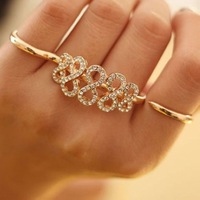 Christmas Crystal Vintage Ring Women Fashion Adjustable Zinc Alloy Engagement Romantic Jewelry Nail Ring