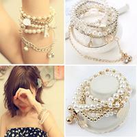 Korean fashion multilayer pearl bracelet Korea pentagram pyramid bracelet