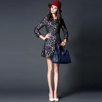2014  112525  fashion high quality vintage abstract jacquard slim one-piece dress