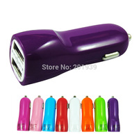 New High Quality Mini Micro Auto Universal 2.1A 1A Dual 2 Ports USB Car Charger Adapter Car carregador Free Shipping