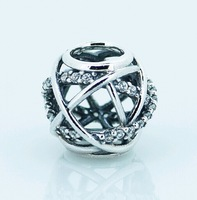 Wholesale 925 Sterling Silver Galaxy Openwork with Clear Cz Bead Fits European Style Jewelry Charm Bracelets & Necklaces