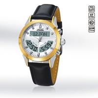 Stainless Steel Waterproof Dual Time Dual Language Digital Muslim Azan Wrist Watch Prayer Watch Leather Wristband /HA-6102WK