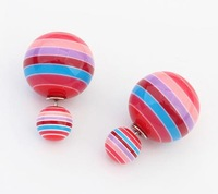 2014 fashion High quality jewelry/ Double side Pearl earrings / cd women/ Stud Earring/ colorful accessories H02