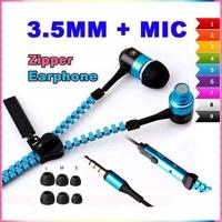 Standard Stereo Bass Headset In Ear Zipper Earphones 3.5mm with Mic MP3 MP4 MP5 phone earphone