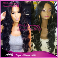 Top Quality Grade 6A #1b remy virgin human hair peruvian loose wave lace front wigs glueless for black women free shipping