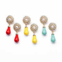 Fashion fashion accessories candy color block simulated-pearl fresh female stud earring