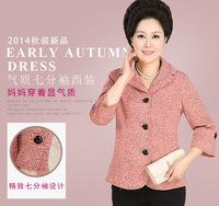 Autumn fashion quinquagenarian women silm small suit jacket mother dress coat printing outwear blazer 2color XL-4X