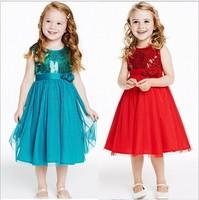 2015 new summer dress Kids Girls sequins gauze lace frower party dresses girl princess dress,14NOV104