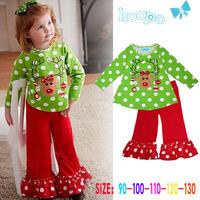 Free shipping Christmas suit cute cartoon deer horn dot dot shirt + pants Christmas baby green suit