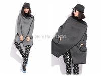 2014 Women Hip Hop Woolen Jacket Coat Medium Style Warm Winter Coat Irregular One-button Design Light/Dark gray FS3082