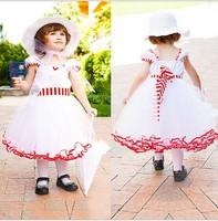 2015 new girls dresses baby new clothing Gauze stripe belt girl children cute Princess Dress,14NOV103
