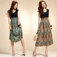 New Style Summer Sleeveless Patchwork Printed Floral Long Bohemian Dress for Women Beach Casual Lady Wear Freeshipping    WZA448