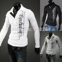 New Autumn Men Casual T-Shirt High Quality V-neck Printing Warm Wool Men T-Shirt Free Shipping