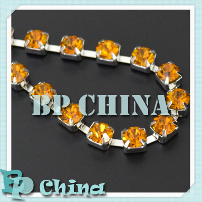(5yards/lot) SS28 (6mm) Regular Sparse Garment Rhinestone Chain, Topaz Color in Silver Base, BP1-022824S(China (Mainland))