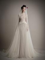 New Arrival Vestidos De Noiva High Neck Half Sleeve Embroidery Lace Sheath Wedding Dress 2015 ATL31