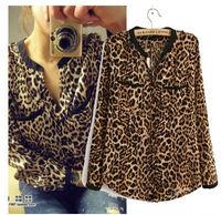 2015 Newest Spring Summer Fashion women Leopard Chiffon Blouse,women long sleeve shirts