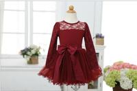 Hot  Baby Girl Long Sleeve Lace Bow Ruffles Mesh Tutu Dresses, Princess Christmas Red & Black Wear