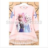 retail frozen girls set children cotton sweater anna and elsa lace princess girl sets fashion gift kid spring suit s253