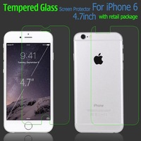 New 4.7 Inch 9H HD Clear Tempered Glass Screen Protector Front and Back Tempered Glass Film for iPhone 6 with Retail Package