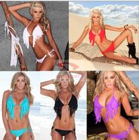European and American fashion fringed bikini hot new high-end fashion beaded belt loop nylon BIKINI swimwear