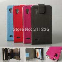 Black Magnetic leather wallet flip cover case skin for LG Optimus L9 P760