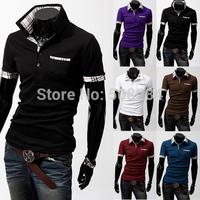Summer Men T-Shirt FashionTurn-down Collar Short Sleeve Men T-Shirt Pure Casual Slim Suit Men T-Shirt Free Shipping