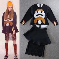 Best Grade New Fashion Preppy Style 2014 Autumn Women Character Patch Sweatshirt+Mini Cotton Skirt+Lace Skirt(1Set)Clothes 3pcs
