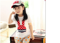 1 x Little girl's shirt for 3-6 years old Thin section children clothing children Girls wild short-sleeved T-shirt