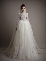 2015 New Arrival Vestidos De Noiva High Half Sleeve Embroidery Lace Ball Gown Winter Wedding Dress ATL30