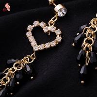 New Fashion Tassel Strong Statement Dangle Earring For Women Shining Heart Drop Earrings