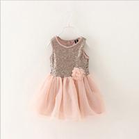2015 new girl dress Spring of three-dimensional flower Sequin baby dress,14NOV109