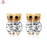 THe Latest Fashion Women Cute Night Owl Stud Earring  Plating 18 K Gold Shining Crystal  Free Shipping
