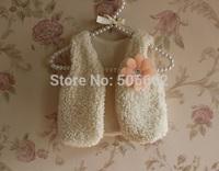 Free shipping kids flower fur vest Princess floral Fur waistcoats Children's flower fur vest cardigans