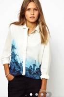 2015 Brand Casual Flower Print Blouse Fashion  Roupsa Shirt Camisas Blusas Femininas Women Chiffon Blouses Tops Plus Size