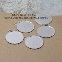 30pcs/lot  Silver Plated Metal Copper 25mm Round Pendant Cabochon Setting Pendant Blanks 7782