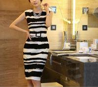 Clearance women summer dress 2014 black white striped printed knee-length dresses vestidos femininos casual free shipping,S-XXXL