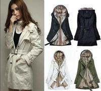 Women Thicken Warm Winter Coat Hood Parka Overcoat Long Jacket Outwear Black/Army Green/White